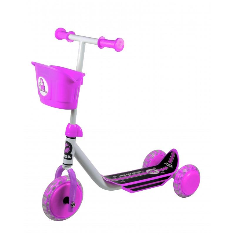 Bērnu 3 riteņu skūteris balts/rozā